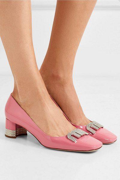 4133c35137387 Miu Miu crystal-embellished patent-leather pumps. #miumiu #nudeshoes #pumps  #heels
