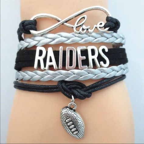 Oakland Raiders✨COMING SOON✨ Great bracelet to wear on game day or while tailgating. This bracelet measures about 7 inches plus it has an additional chain extender on the back. New in package. Price is firm unless bundled. Please like this listing to be notified when they are available. I will drop the price to $18 once in. Jewelry Bracelets