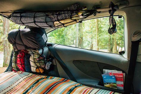 Megan & Michael in a Ford Focus — Tiny House, Tiny Footprint Mini Camper, Suv Camper, Camper Life, Camper Trailers, Auto Camping, Truck Camping, Camping Hacks, Minivan Camping, Camping Solo