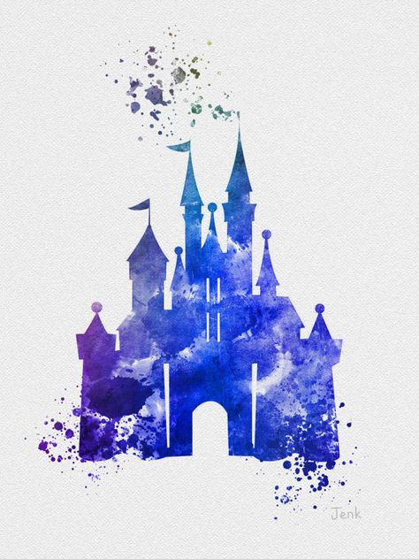 Cinderella Castle ART PRINT Blue 10 x 8 illustration by SubjectArt
