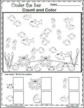 Under The Sea Count And Color Made By Teachers Sea Activities Under The Sea Animals Math Under The Sea