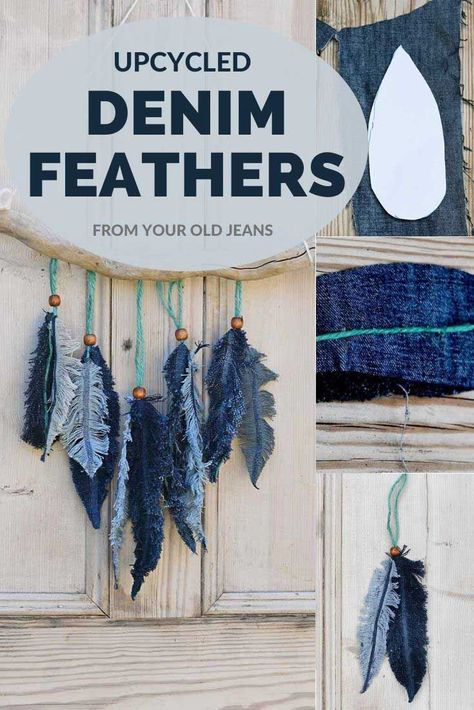 Don't throw away your old jeans, use them to make this gorgeous denim feather wall decor. It is so easy to make these denim feathers and no-sewing involved. craft craft diy craft for kids craft no sew craft to sale Crafts To Sell, Diy And Crafts, Craft Projects, Sewing Projects, Crafts For Kids, Arts And Crafts, No Sew Crafts, Money Making Crafts, Hobbies And Crafts