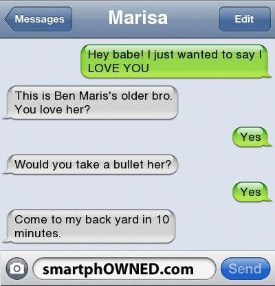 Protective Brother Hahaha This Will Be My Brother Lovetextmessages Funny Text Messages Funny Quotes Sibling Quotes