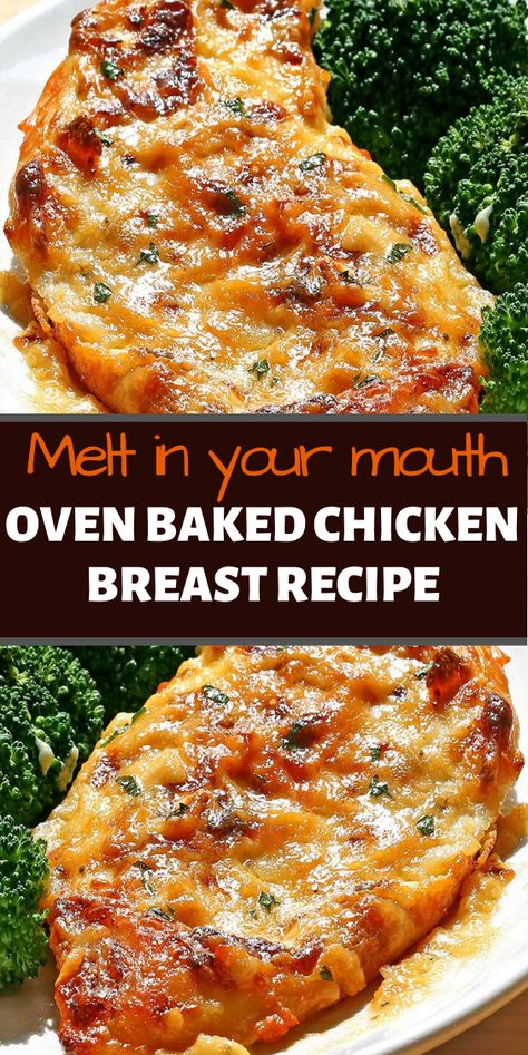 """Oven Baked chicken breast recipe If there is an easier way to turn boneless, skinless chicken breasts into a more delicious, creamy cheese-covered cream, we don't know what it is. And did we mention that it only takes five """"ingredients""""? Oven Chicken Recipes, Meat Recipes, Healthy Recipes, Recipe Chicken, Chicken Breast Recipes Healthy, Chicken Breats Recipes, Low Calorie Chicken Recipes, Recipies, Bake Chicken In Oven"""