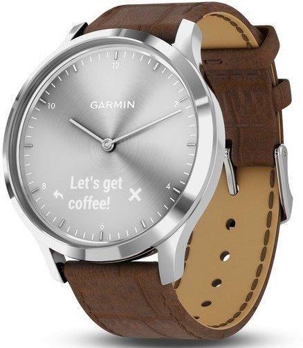 Garmin Watch Vivomove Hr Premium Silver Brown Leather Add Content Alarm Yes Bezel Fixed Bracelet Strap Leather Brand Garmin C Leather Garmin Garmin Watch