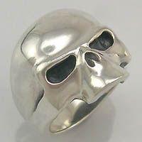 Half Skull Heavy Sterling Silver Biker Ring