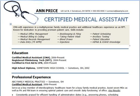Medical Assistant Resume Template Need to show this to my - records management resume