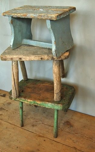 foot bench primitive wooden stool Stool massively
