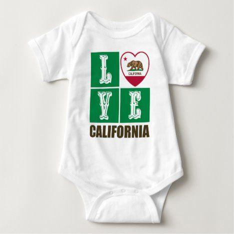 Love California Republic State Flag Heart Pride Baby Bodysuit Zazzle Com Baby Bodysuit Gender Neutral Baby Clothes Bodysuit