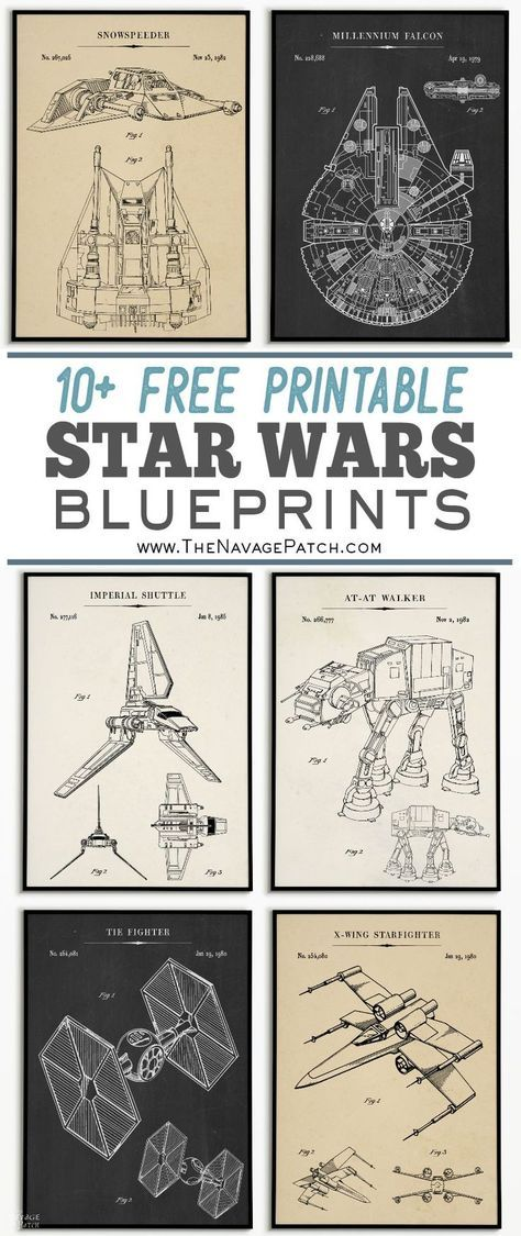 Free Printable Star Wars Blueprints These awesome Star Wars blueprints are perfect for the Star Wars fan in your life! As always, these Star Wars printables are free! Vintage Star, Poster Vintage, Vintage Diy, Vintage Party, Tie Fighter, Star Wars Poster, Millennium Falcon, Printable Star Wars, At-at Walker