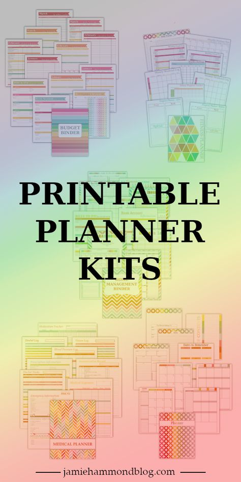Printable pdf planner kits to organize your life and control the chaos/