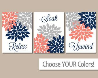 Coral Navy Blue Gray Flowers Bathroom Wall Art Canvas Or Prints