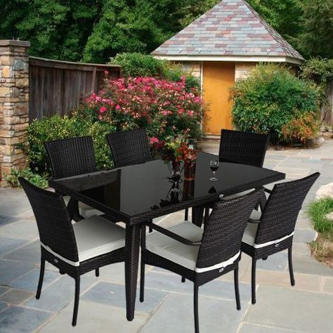 6 seater outdoor dining set rattan glass table aluminum frame garden rh pinterest co uk