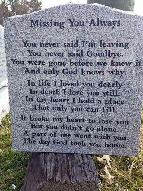 This states it very clear.   You never said goodbye.   A massive heart attack took you in a blink of an eye.   Your daughter tried desp...