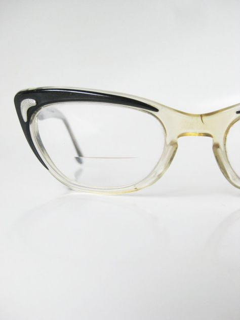 f0aaab44cbd Vintage Cat Eye Glasses Clear Black 1950s 50s Fifties Costume Mid Century  Modern Mad Men Martin