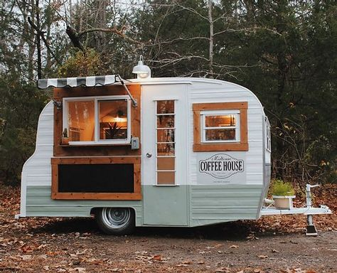 Food Cart Design, Food Truck Design, Vintage Rv, Vintage Trailers, Vintage Stove, Coffee Food Truck, Mobile Coffee Shop, Coffee Trailer, Retro Caravan