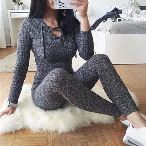 Mamelucos mujeres Jumpsuit 2018 nueva moda manga larga Sexy V cruzado vendaje cuello tejido Bodycon pantalón largo ajustado suéter monos