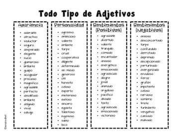 Lista De Adjetivos Lista De Adjetivos Adjetivos Lista