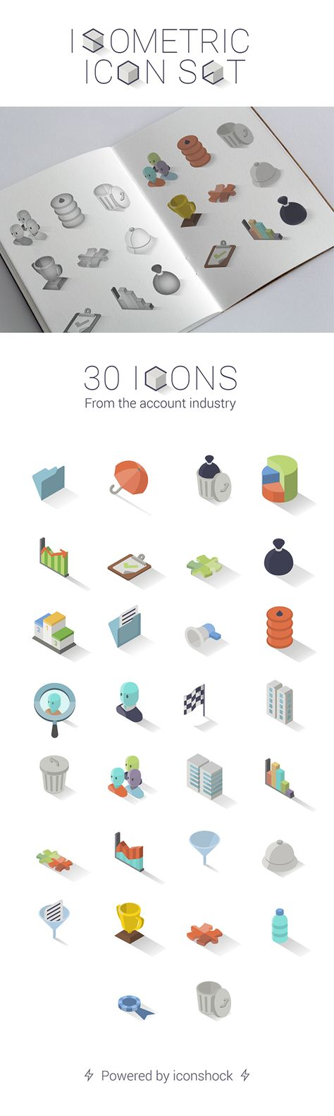 Check out and add to your freebie collection this set of 30 flat isometric free icons. These flat icons are fully-editable and customizable in Illustrator and come in various PNG sizes. They're inspired by the account industry that will make your project more attractive.