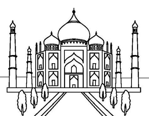 The Taj Mahal Coloring Page Speech Room Taj Mahal Drawing Taj