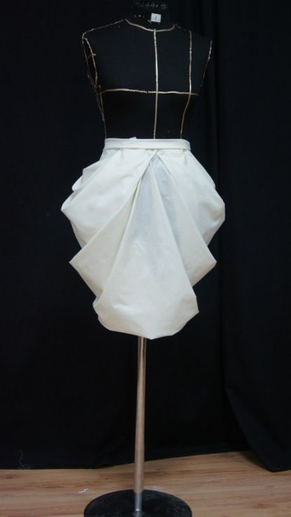 Draping on a dress form - skirt design, developing shape & structure; patternmaking; sewing; fabric manipulation