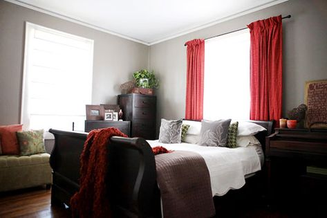 House Crashing Inspired Inexpensive Young House Love Bedroom Red Dark Wood Bedroom Furniture Gender Neutral Bedrooms