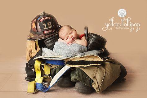 firefighter newborn ideas, fire gear baby photos, fire department newborn ideas, fire truck infant photos