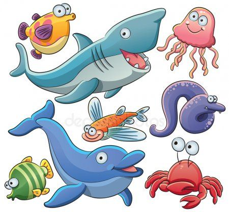 Sea Animals Collection Stock Vector Sponsored Animals Sea Collection Vector Ad Cartoon Sea Animals Sea Animals Animal Clipart