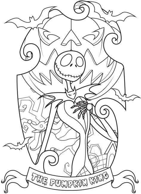 Color Jack Skellington, King of Halloween Town. He's a character and the main protagonist of the 1993 film The Nightmare Before Christmas by Tim Burton., From the gallery : Halloween Free Halloween Coloring Pages, Fall Coloring Pages, Printable Adult Coloring Pages, Disney Coloring Pages, Coloring Books, Adult Colouring In, Colouring Pages For Adults, Fall Coloring Sheets, Free Christmas Coloring Pages