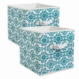 Dii Nonwoven Polyester Cube Scroll Teal Square 11x11x11 Set 2 Camz35081 Fabric Storage Bins Cube Storage Storage Bins