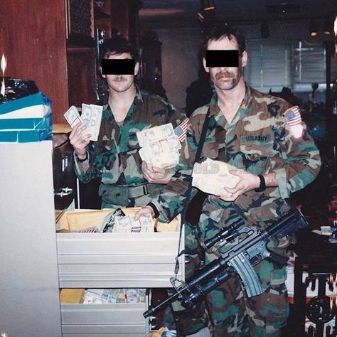 SFOD-D posing with seized drug money during SSE in Operation Just Cause Panama 1989