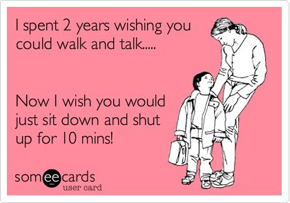 I spent 2 years wishing you could walk and talk..... Now I wish you would just sit down and shut up for 10 mins!