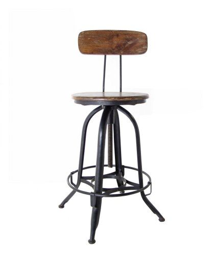 Architectu0027s Counter Stool with Back Model indJH017 Adjustable wood and metal stool with back. When seat is at its base it measures 40  tall witu2026  sc 1 st  Pinterest & Architectu0027s Counter Stool with Back Model: indJH017 Adjustable ... islam-shia.org