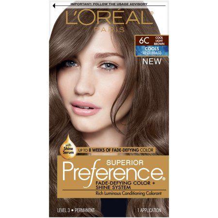L Oreal Paris Superior Preference Fade Defying Shine Permanent Hair Color 6c Cool Light Brown 1 Kit Walmart Com Hair Color Reviews Loreal Hair Color Hair Color