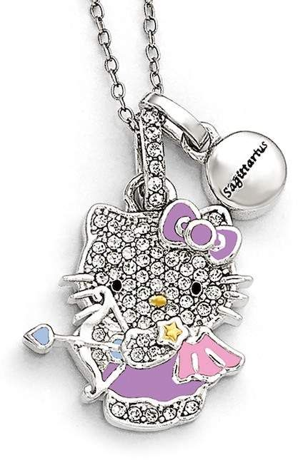 HELLO KITTY ZODIAC SAGITARIUS Sterling 925 Pave Crystal Enamel Pendant Necklace