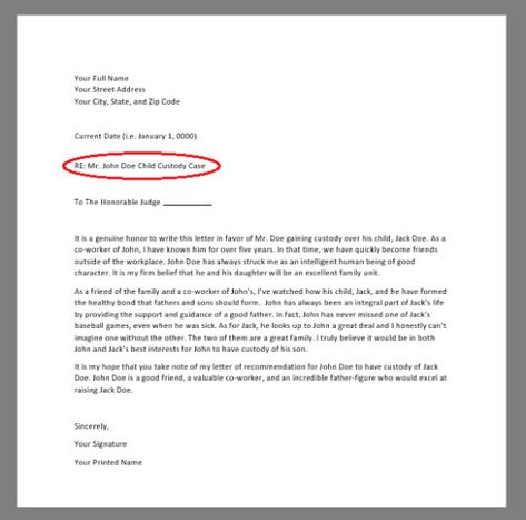Child Custody Letter Of Recommendation Luxury Free Character
