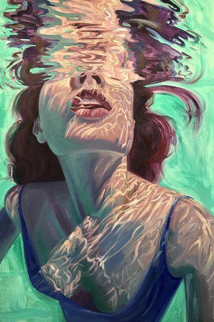 Isabel Emrich paints dazzling depictions of women submerged underwater. #art #artideas #artdrawings #painting – BuzzTMZ