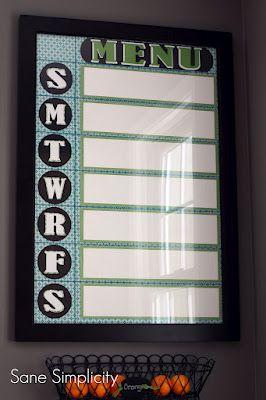 Craft Paper + Picture Frame = Dry Erase Menu Board