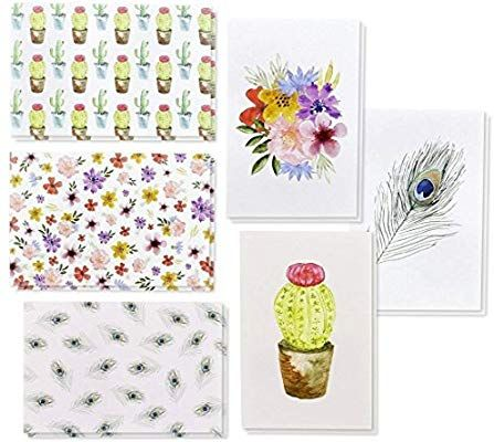 Amazon Com 48 Pack All Occasion Assorted Blank Note Cards Greeting Cards Bulk Box Set 6 Watercolor Designs Cact Blank Cards Stationery Paper Greeting Cards