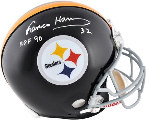 d07b9c1af Franco Harris Pittsburgh Steelers Autographed Riddell Pro-Line Authentic  Helmet with HOF 90 Inscription