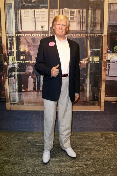 Donald Trump wax figure seen during the 'VIP 90's Let's Glow' Opening Party at Madame Tussauds on March 27 2018 in Berlin Germany
