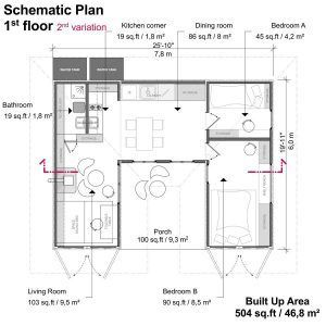 Living Room Bathroom Kitchen Corner Dining Room Bedroom A And Bedroom B Porch Container House Plans Container House Container Homes For Sale