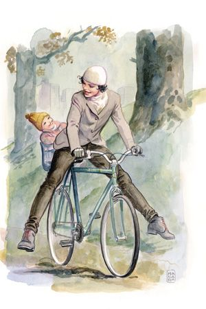 Milo Manara - (Father and Son on a Bike - Biking, Cycling)