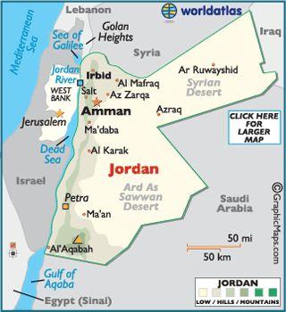 Map Of Jordan Jordan Landkarte Jordanien