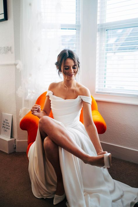 Stunning Flo   A real Halfpenny London bride — Halfpenny London Red Wedding Dresses, Bridal Dresses, Wedding Gowns, Fashion Wedding Dress, Plain Wedding Dress, Stunning Wedding Dresses, London Bride, London Wedding, Red Gowns