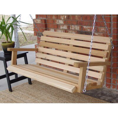 Millwood Pines Frankie Cabin Style Porch Swing Size 23 H X 71 W X 24 D Finish Natural Cedar Porch Swing Hanging Porch Swing Cabin Style