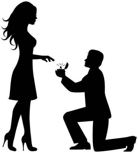 Romantic Couple Silhouettes Clip Art Image