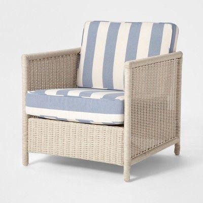 Monroe 2pk Wicker Motion Patio Club Chair White Threshold Blue
