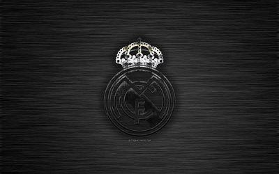 Download Wallpapers Real Madrid Cf Spanish Football Club Black Metal Texture Metal Logo Emblem Madrid Spain La Liga Creative Art Football Besthqwallpap Real Madrid Metallic Logo Madrid