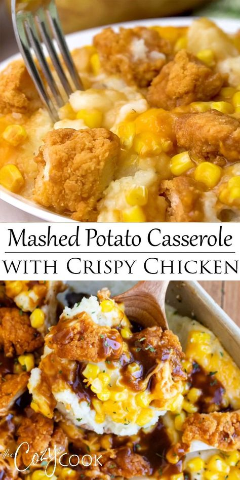 Use leftover mashed potatoes or make them fresh! Top it with Corn, Cheddar Cheese, Crispy Chicken, and a drizzle of brown gravy! It's easy to make ahead of time and bake later for a quick family dinner! meals Mashed Potato Casserole with Crispy Chicken Crock Pot Recipes, Potato Recipes, Lentil Recipes, Recipes With Biscuits, Crock Pot Dips, Mac Cheese Recipes, Crock Pot Soup, Bacon Recipes, Seafood Recipes